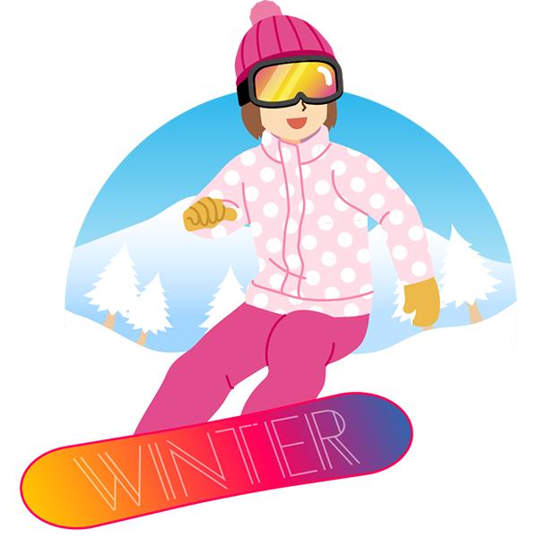 スノーボード 女性 背景あり