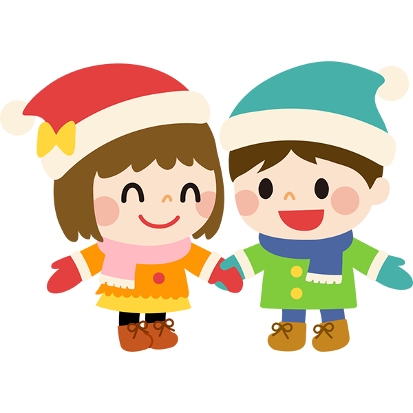 冬の男の子と女の子