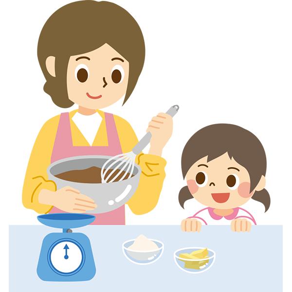 お菓子を作る親子1