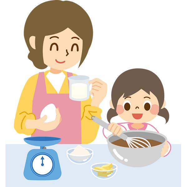 お菓子を作る親子2