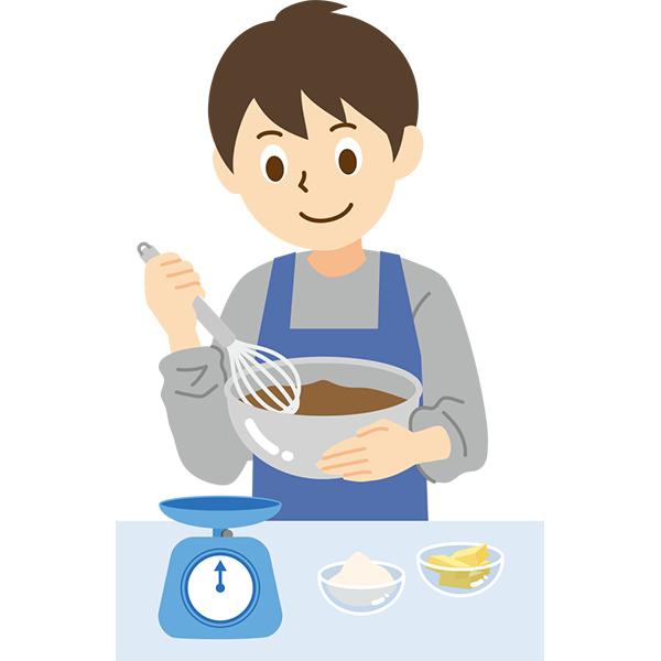 お菓子を作る男性