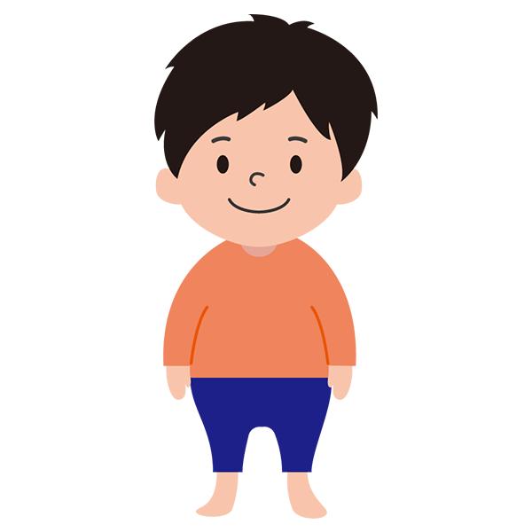 男の子 オレンジシャツ