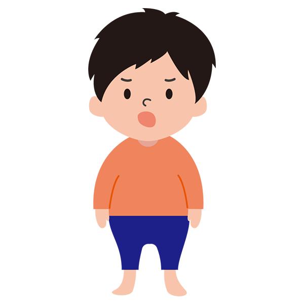 男の子 怒り顔 オレンジシャツ