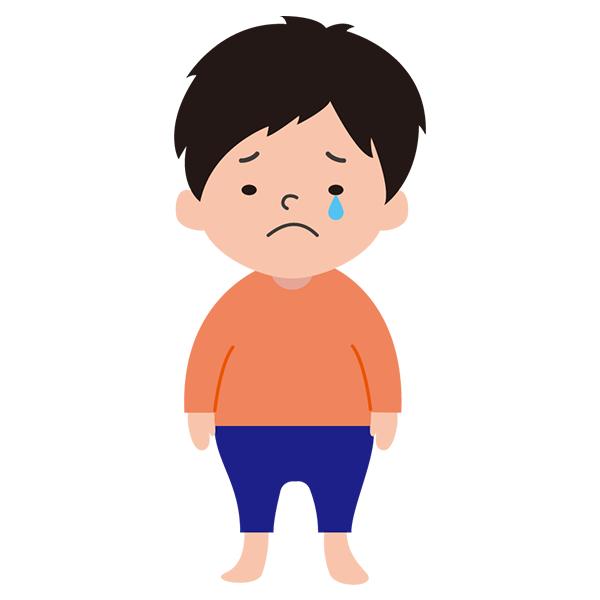 男の子 泣き顔 オレンジシャツ