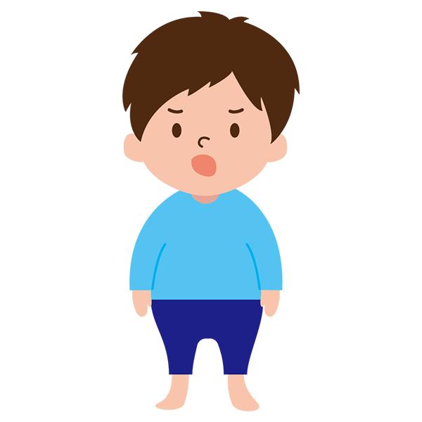 男の子 怒り顔 青シャツ