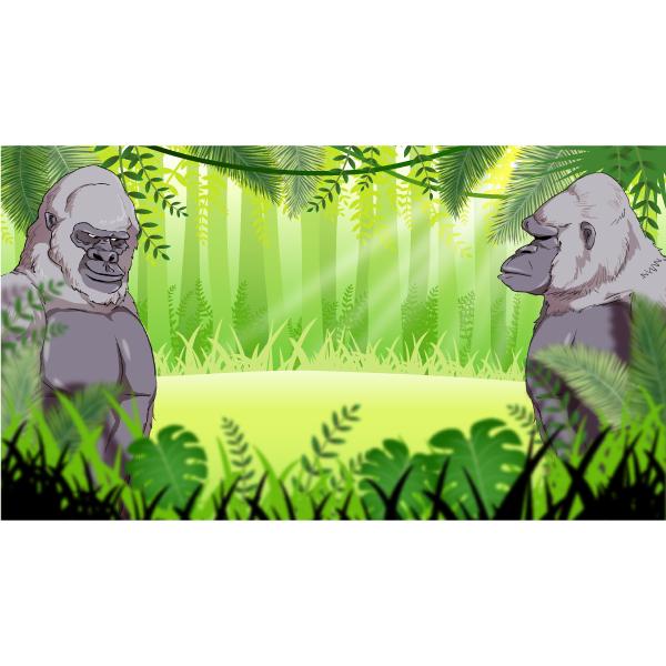バーチャル背景画像 ジャングル 2頭のゴリラ
