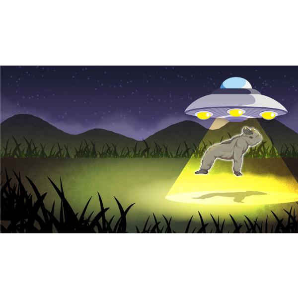 バーチャル背景画像 UFO ゴリラ連れ去り