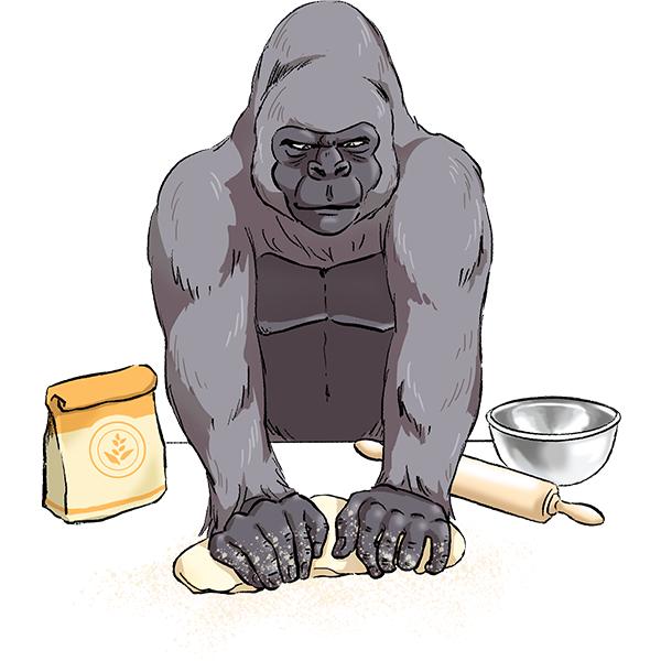 ゴリラ パン作り