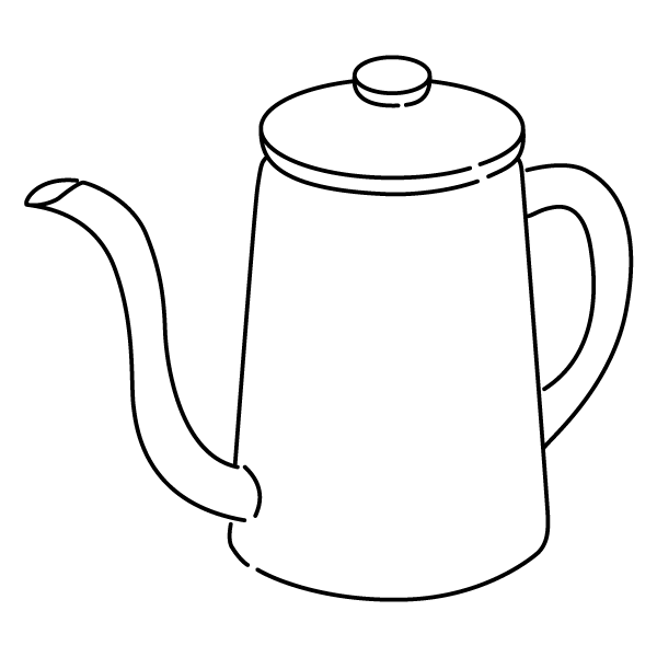ポット 線画(モノクロ)