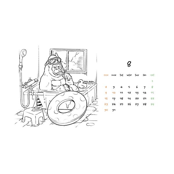 8月ゴリラカレンダー(2020年版)