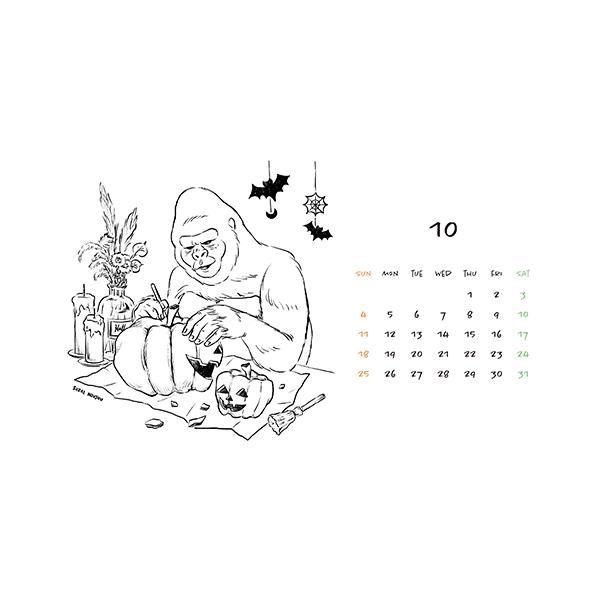 10月ゴリラカレンダー(2020年版)