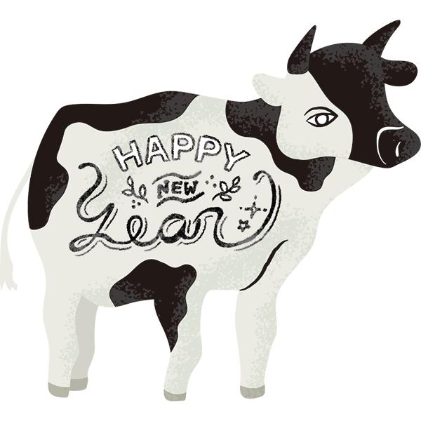 ウシ 牛 丑 雑貨イラスト風 HAPPY NEW YEAR