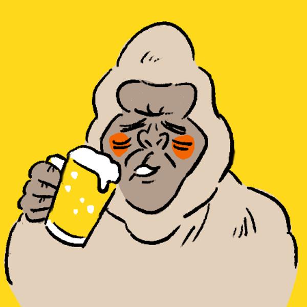 ゴリラ アイコン ビール カラー背景