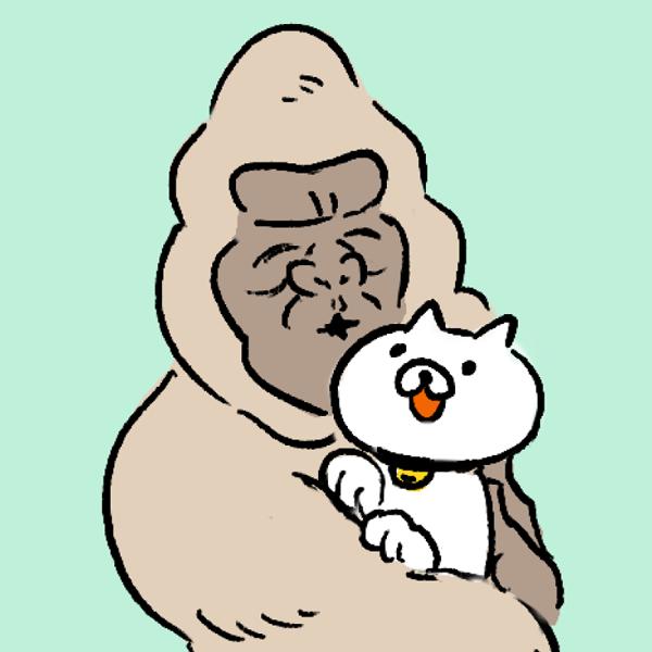 ゴリラ アイコン 猫好き カラー背景