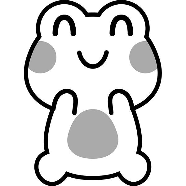 カエル 笑顔1 かわいい モノクロ